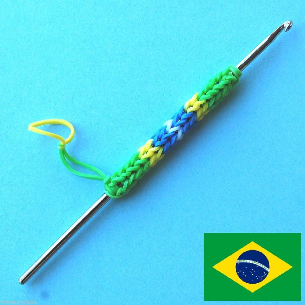 Brazil Flag Colors Gift Rainbow Loom Metal Hook Crochet tool Soccer World Cup #Brazil
