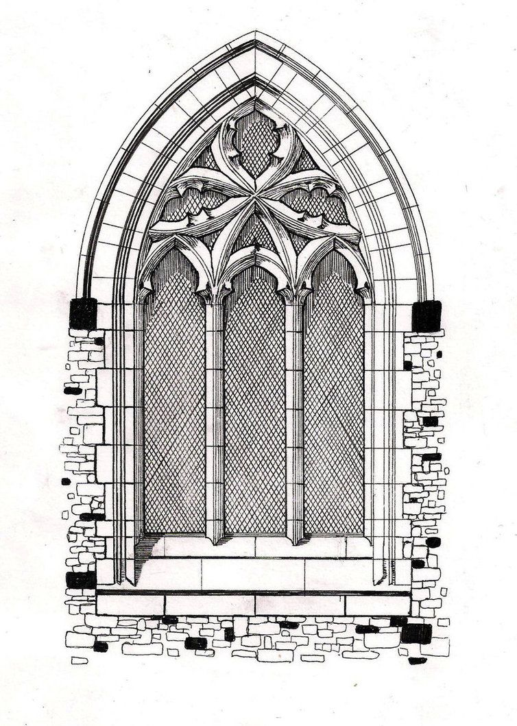 Gothic Windows Line Drawing Window By Hellluke