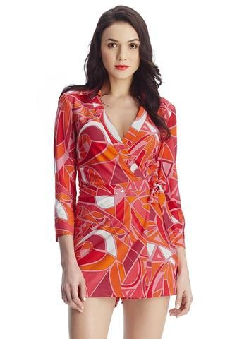 Abstract Wrap-Style Long Sleeves Romper