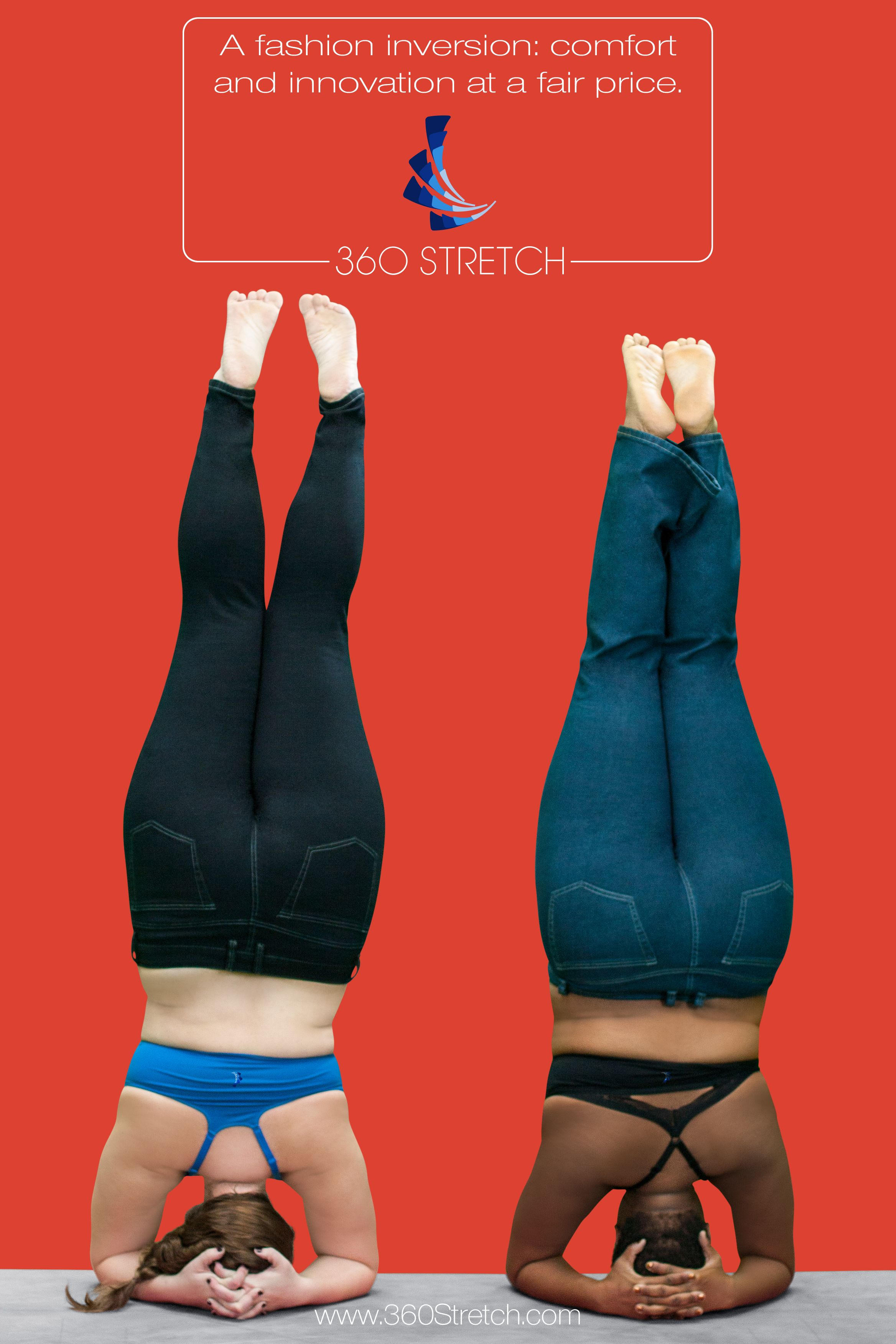 Plus Size Yoga Instructors Dana Falsetti (Left) and Jessamyn (Right) doing yoga headstands in 360 Stretch High Rise Black Skinny Jeans and Mid Rise Dark Blue Relaxed Jeans.