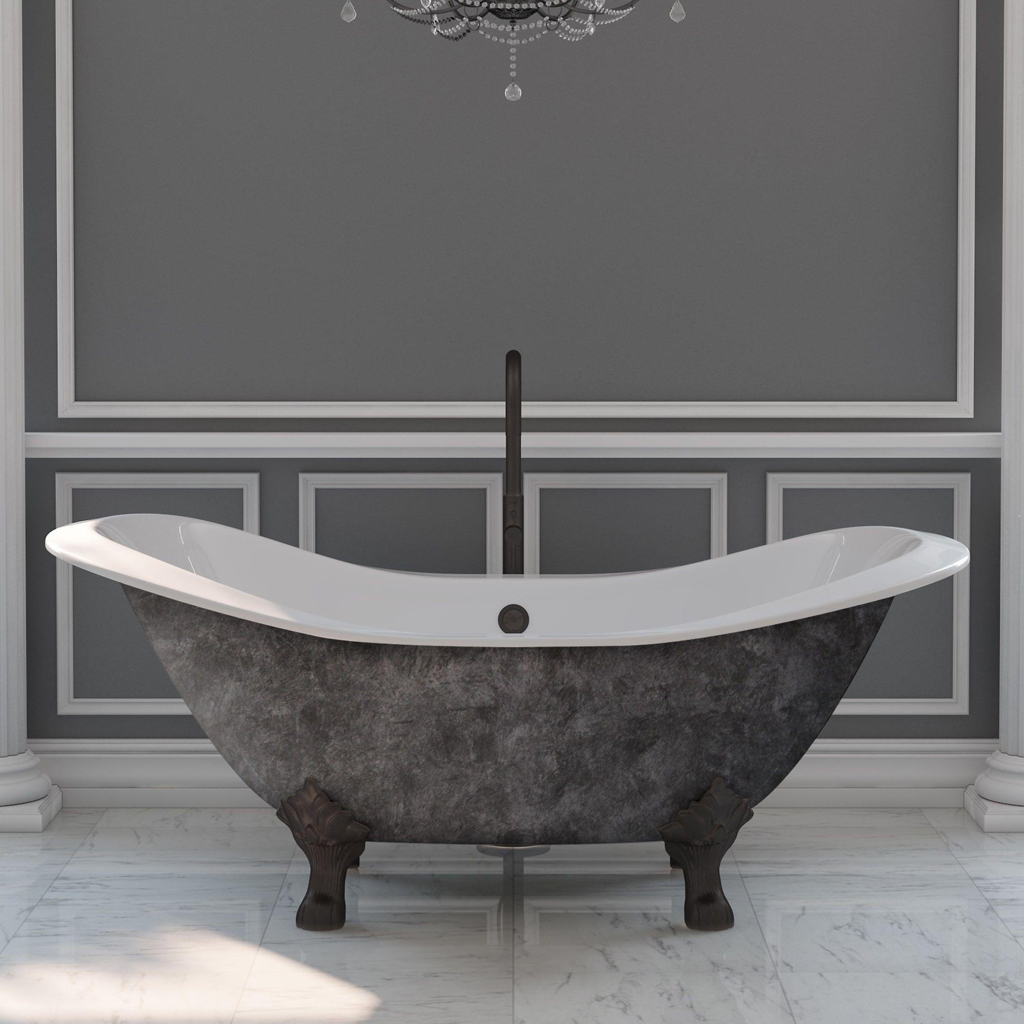 72 Inch Cast Iron Double Slipper Tub With Choice Of Standing