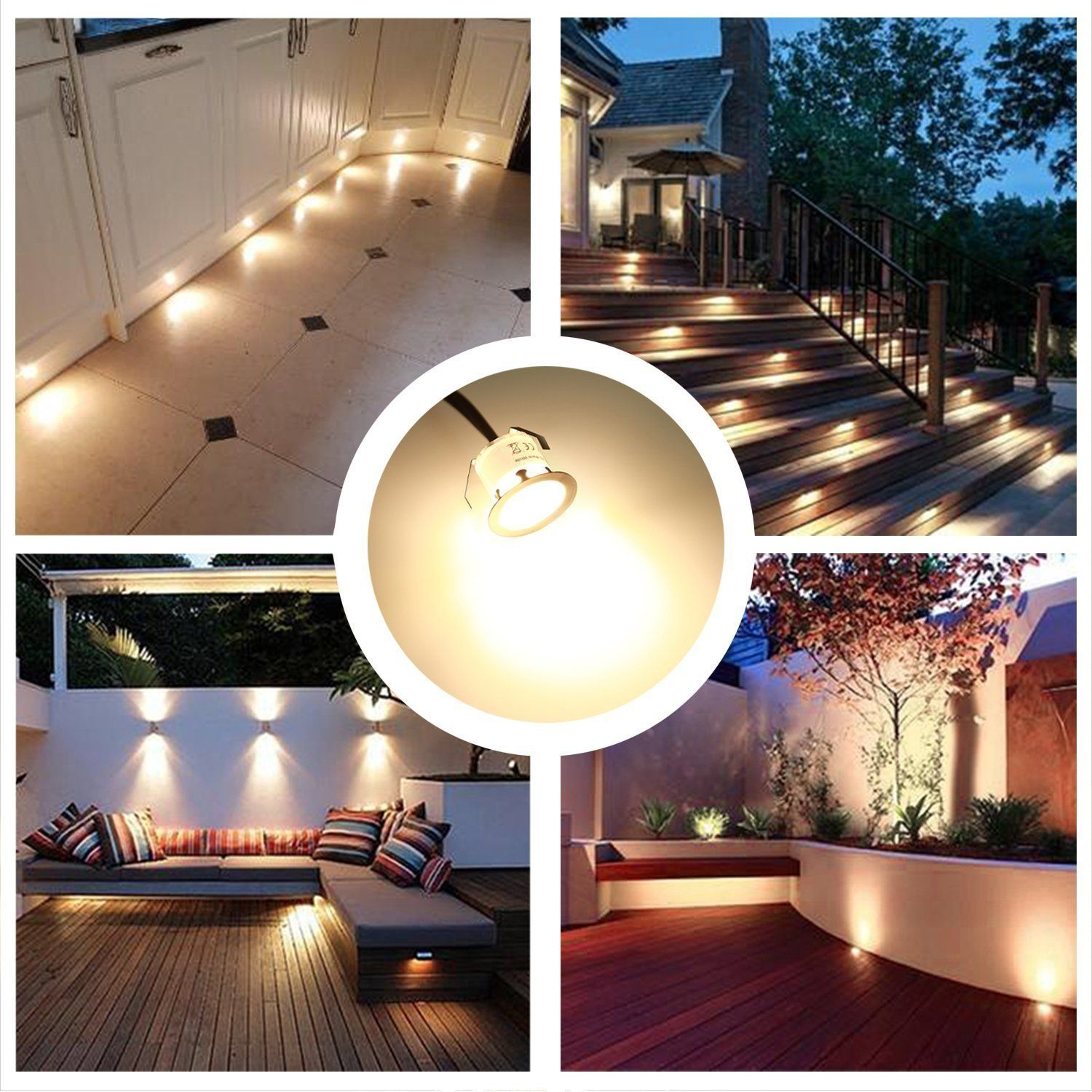 Recessed Led Deck Lighting Kits 12v Low Voltage Warm White X3c6 22mm Waterproof Ip 67 Led In Ground L Outdoor Lighting Kit Deck Lighting Led Outdoor Lighting