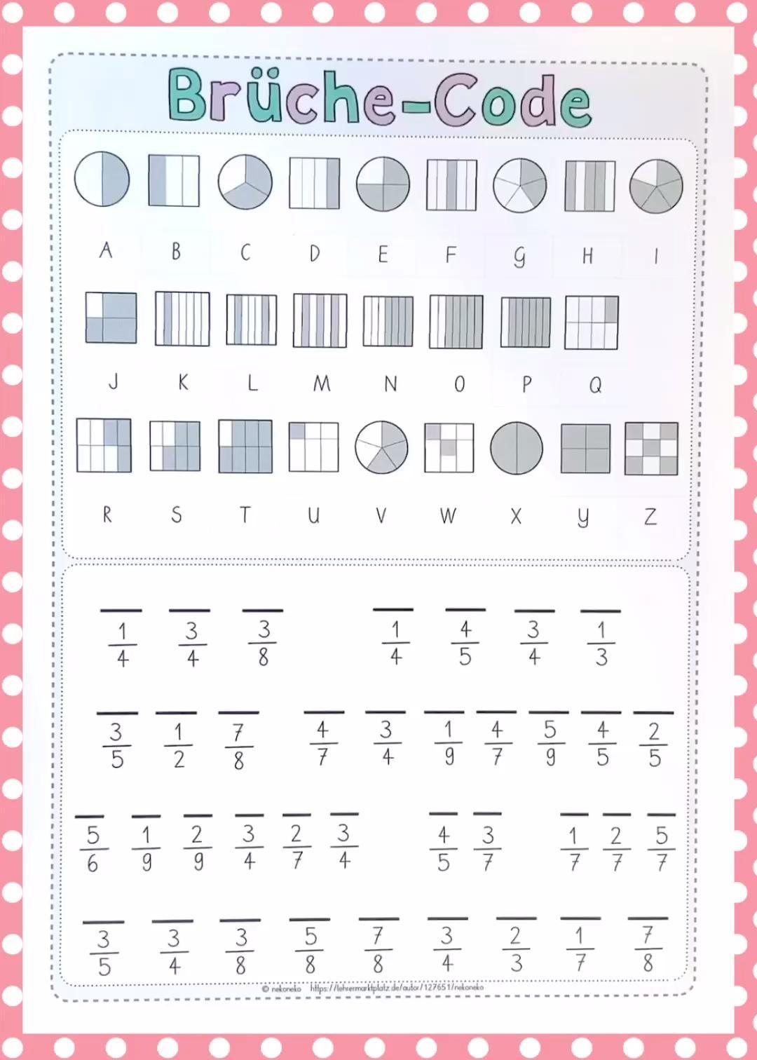 Bruchrechnen   Knacke den Brüche-Code   Division#brüchecode #bruchrechnen  #den #division #knacke   Math worksheets [ 1512 x 1080 Pixel ]