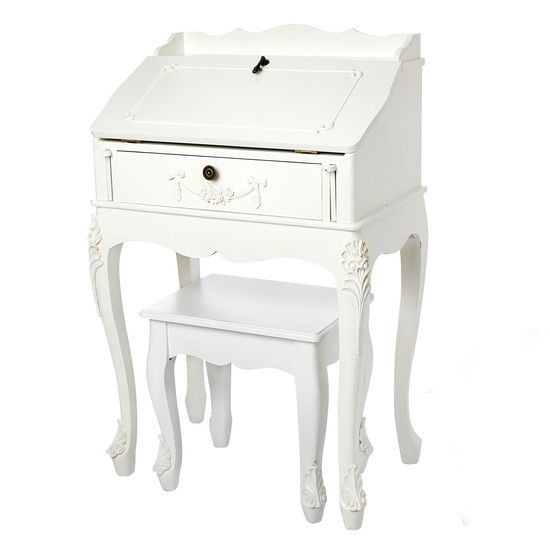 Toulouse White Wood Bureau With Stool Bedroom Collections Furniture Furniture Bedroom Furniture