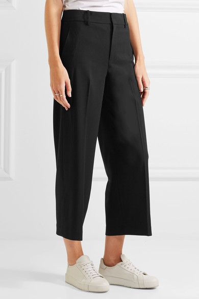 Vince - Cropped Wool-blend Crepe Wide-leg Pants - Black - US12