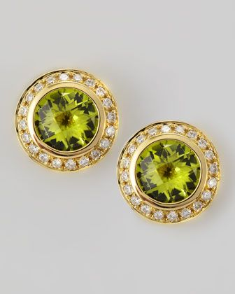 18k Yellow Gold Peridot Stud Earrings by Frederic Sage at Neiman Marcus.