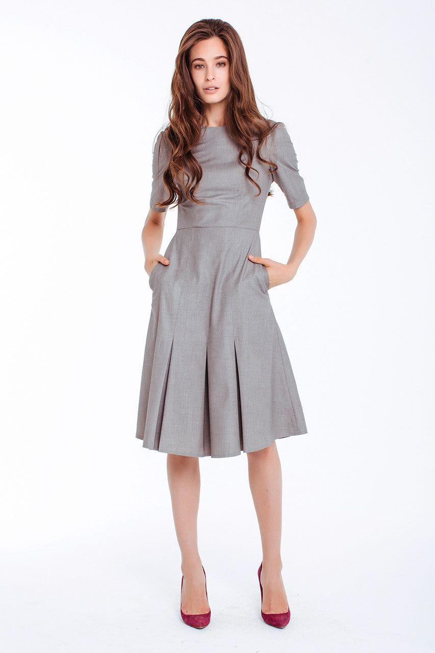 Tailliertes Kleid, grau | Graues kleid outfit, Kleider und ...