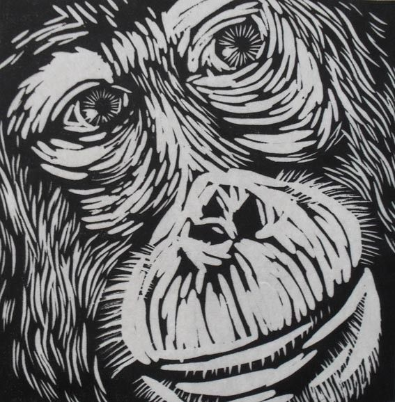 Orangutan linocut on japanese kozuke paper gsm white