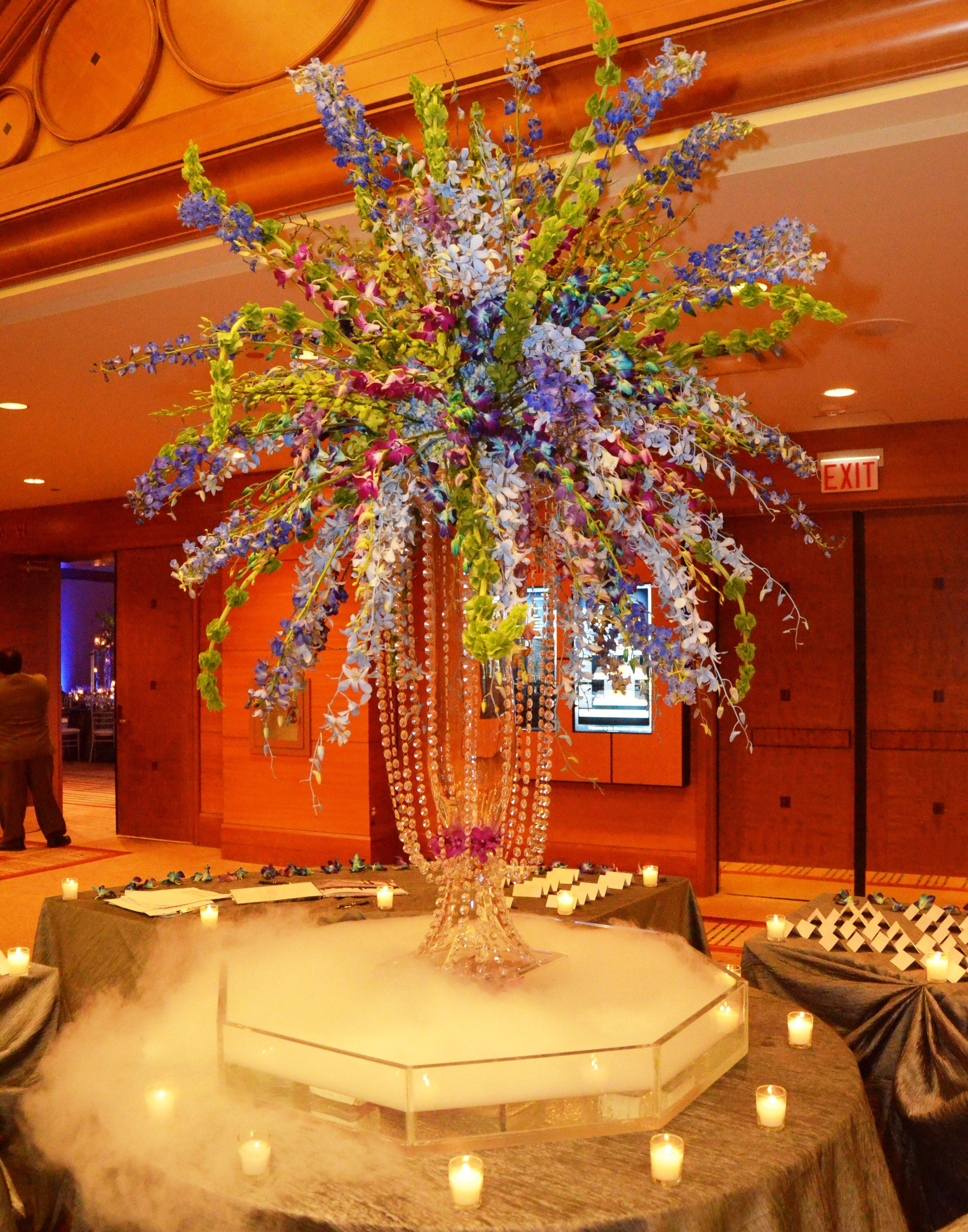 Tropical Orchid Centerpiece With Smokey Dry Ice Effect #Wedding