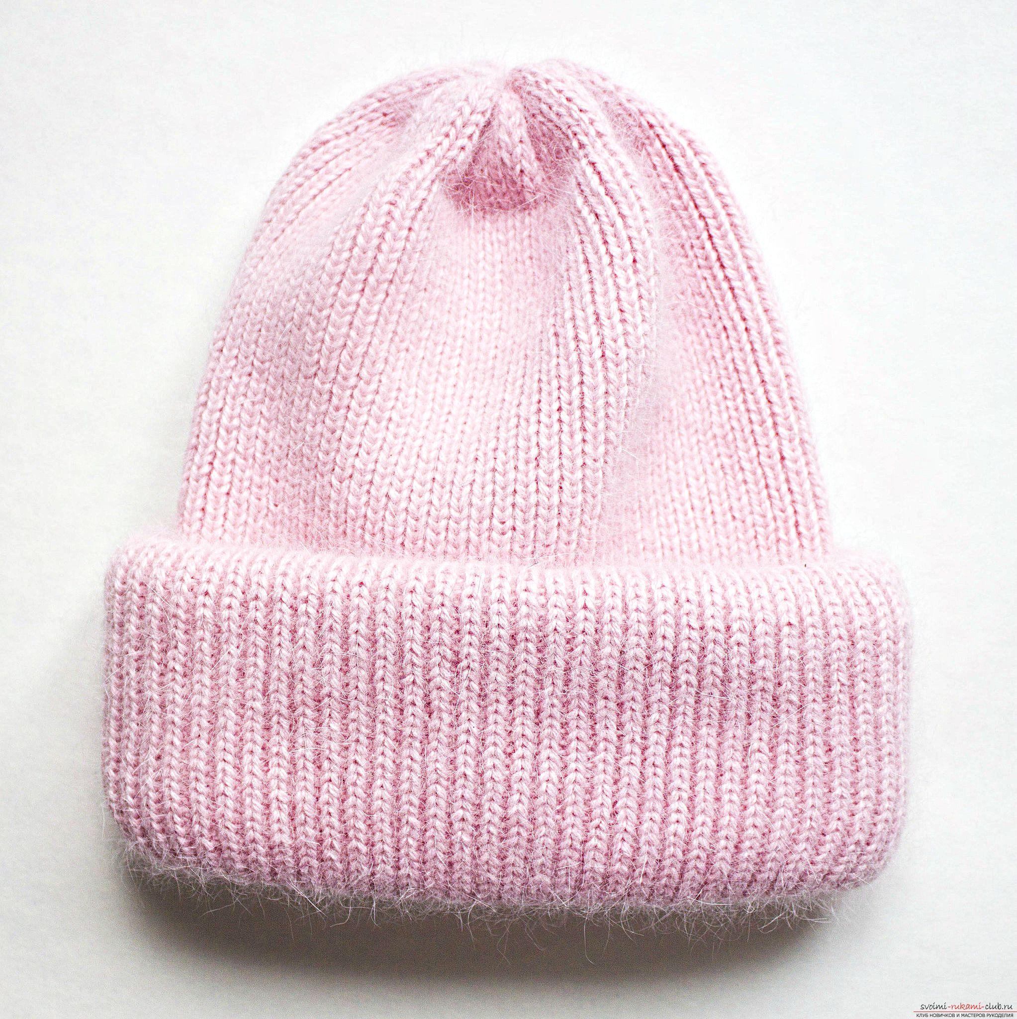 Вяжем шапку с отворотом   Вязаные шапки, Вязание, Схемы ...