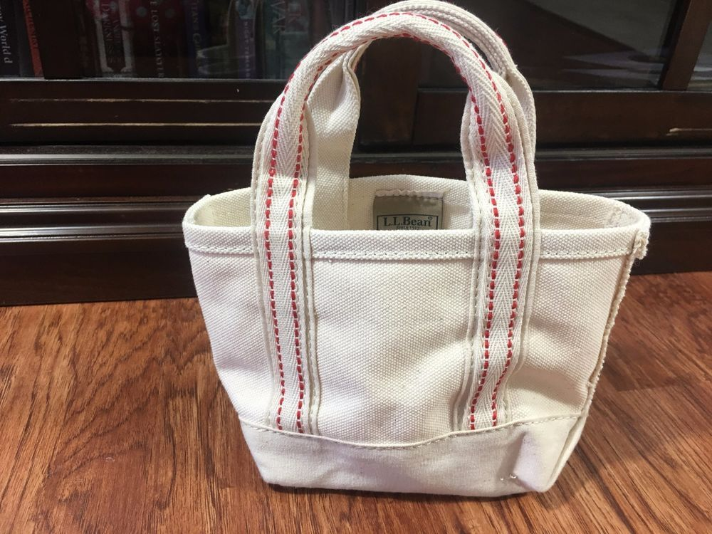 Excellent Ll Bean Mini Small Canvas Tote Bag Purse Natural Ivory W Beatyapartments Chair Design Images Beatyapartmentscom
