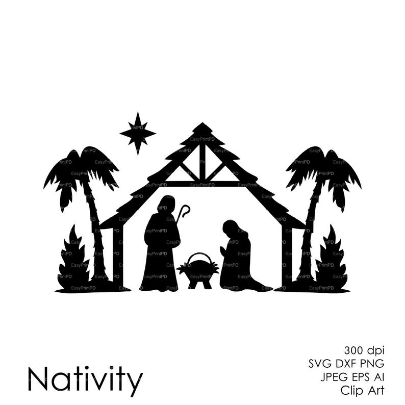 COMMERCIAL USE Nativity Christ silhouette Overlays (eps