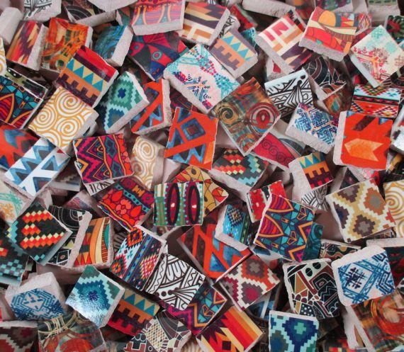 Ceramic Mosaic Tiles 2 Pounds Mixed Boho Tribal Designs Mosaic Tiles Ceramic Mosaic Tile Mosaic Crafts