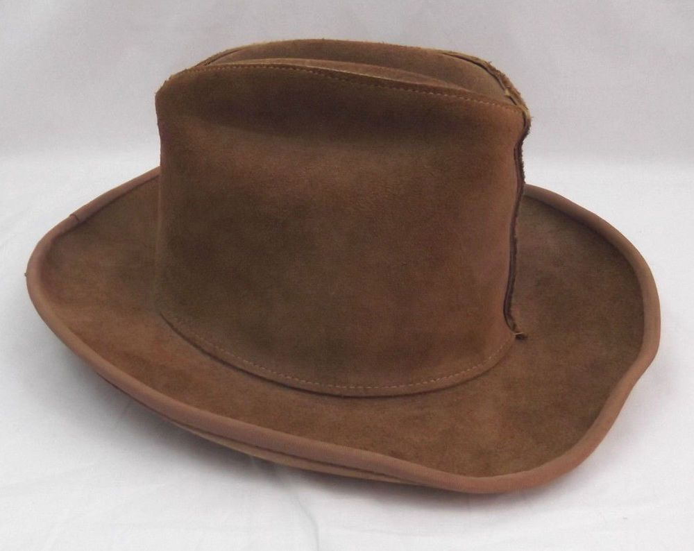 Hat Tan Suede Leather Western Henschel Cowboy Suede