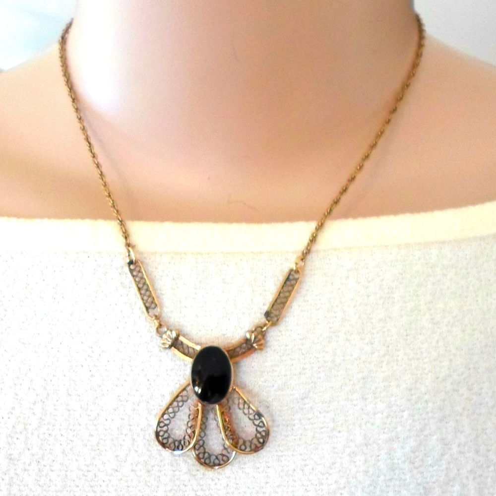 VTG necklace black pendant lacy look 1/20 12K GoldFilled 17 inch signed on back #CCforCurtmanCo #Chainandpendant