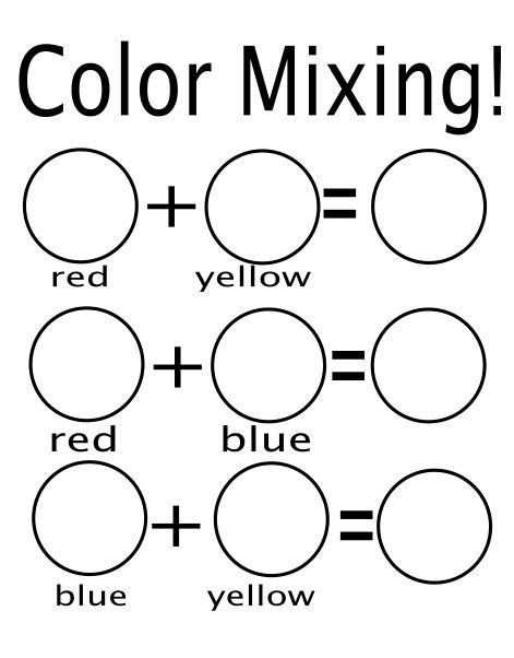 Free Worksheets preschool color chart : Color mixing