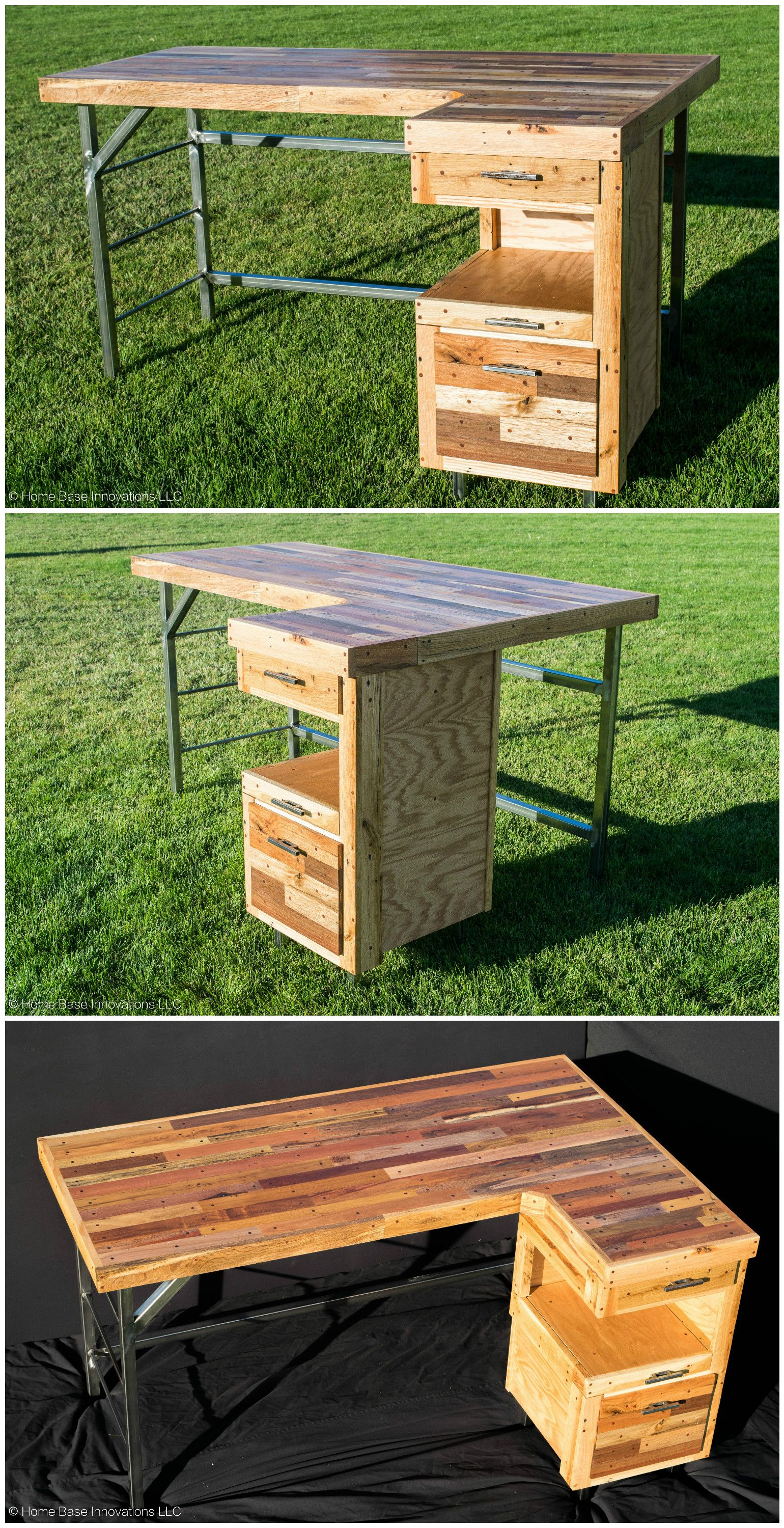 Industrial Standing Executive Desk From Repurposed Pallets ...