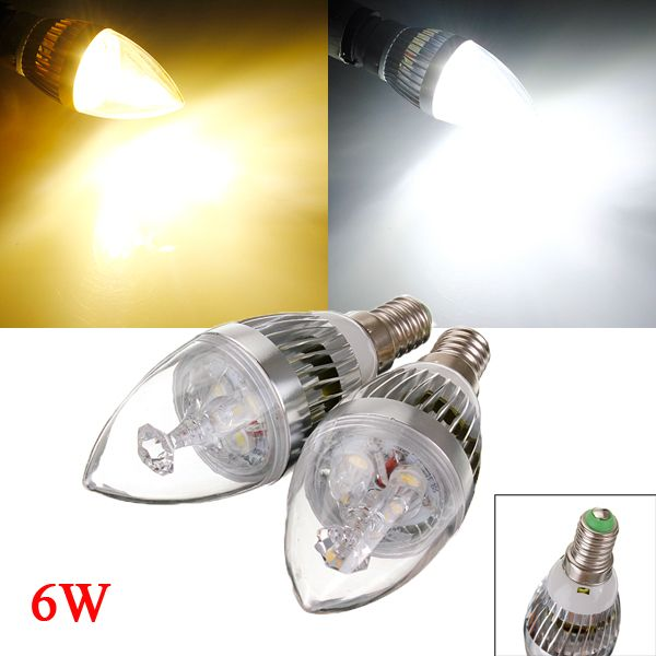 E14 6w 3 Led White Warm Chandelier Candle Light Bulb 85 265v
