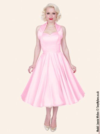 Pale Pink Satin, Vivienne of Holloway Duchess swing dress. Might be needing this!