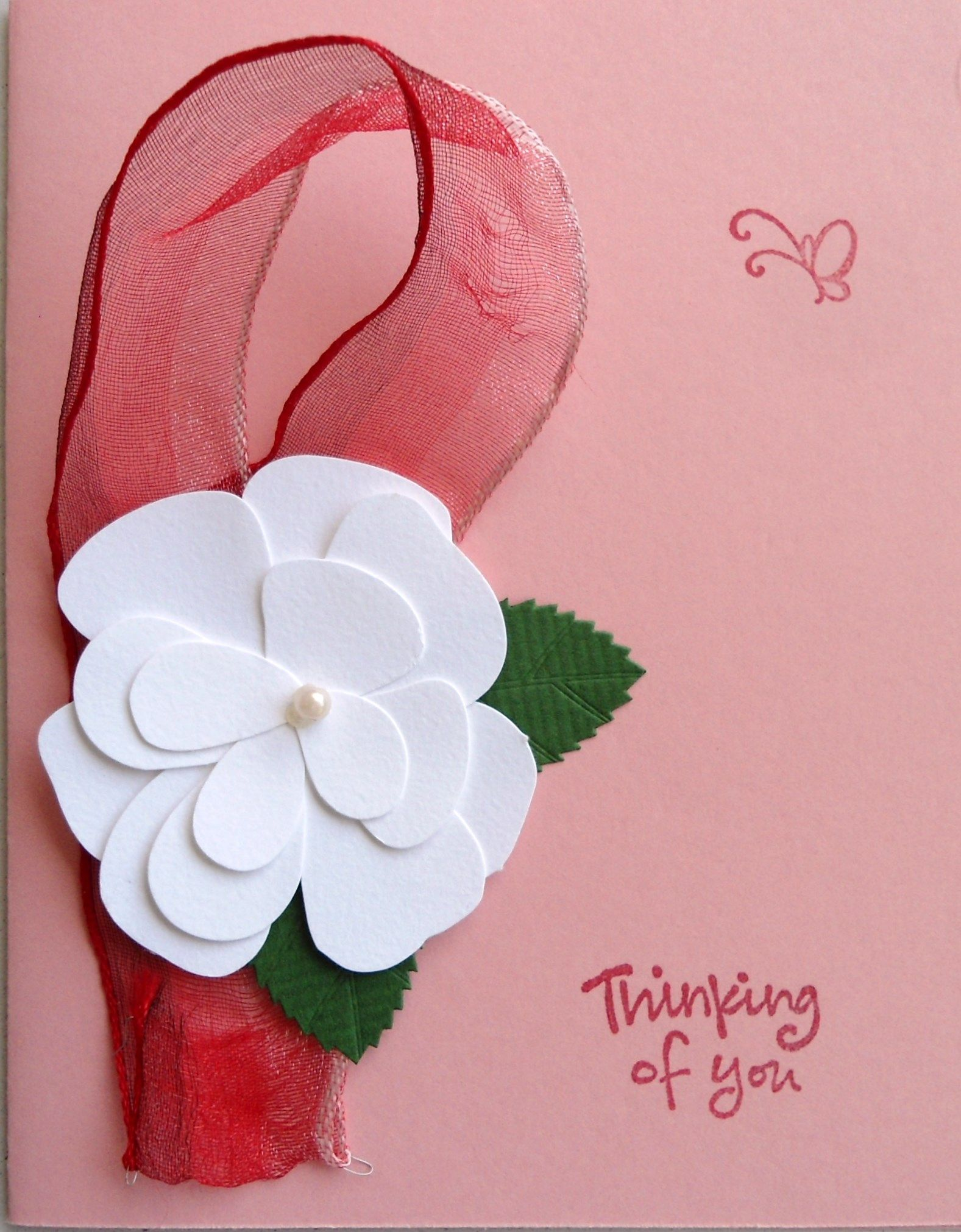 """This is actually not one of my favorite cards; but I liked the ribbon and the flower, and they're """"pretty in pink""""..."""
