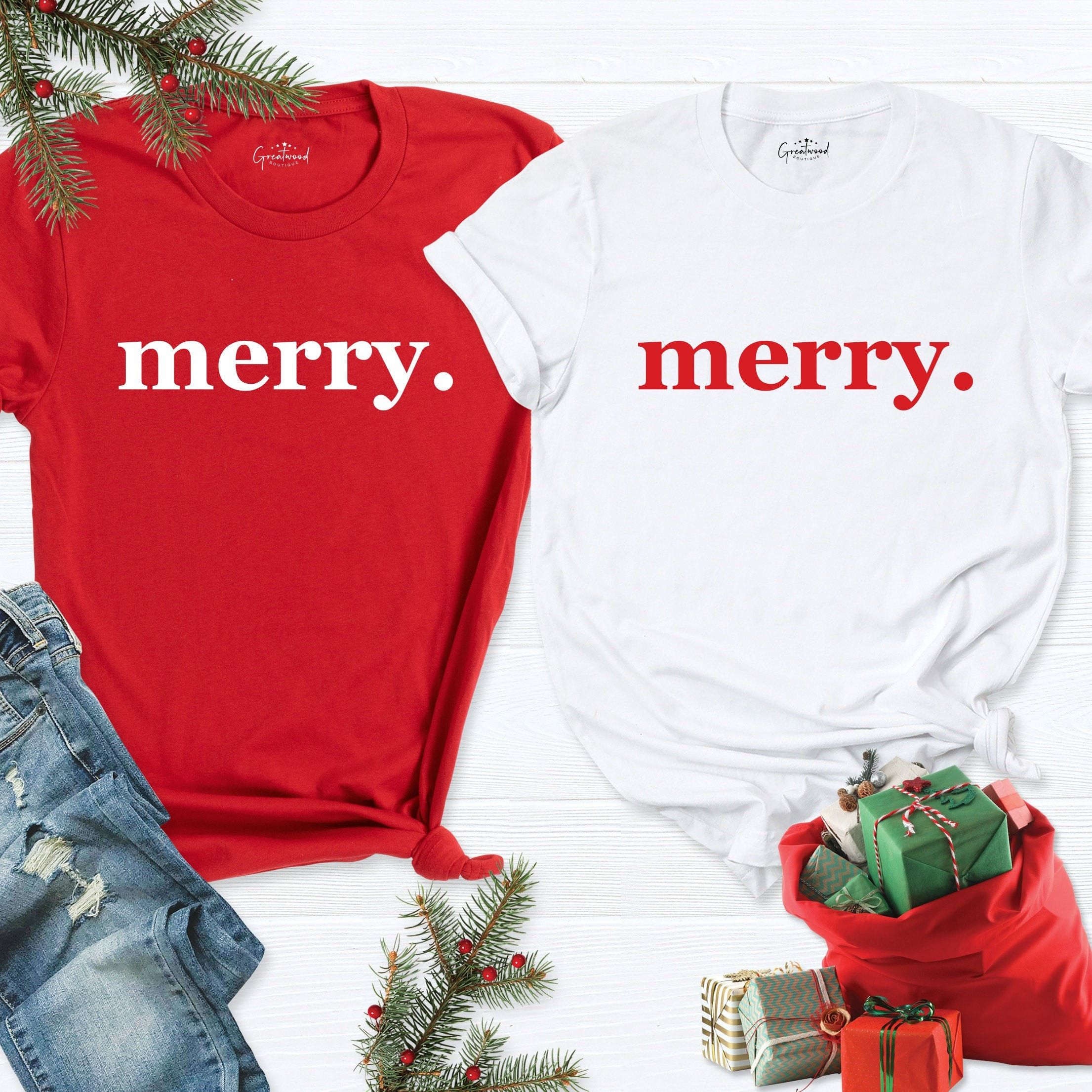 """""""Merry Shirt, Merry Tshirt, Christmas Shirt, Christmas Tshirt, Xmas Shirt, Cute Christmas Shirt, Merry Christmas Tee, Merry Christmas Tshirt HI! Welcome to my store, I'm delighted to see you here. My store's main goal is to make you happy. I see you as a friend, not just a customer. Please contact me if you have any questions or want to get a custom-made design. I'm sure you'll love my designs. If you liked the design but didn't like the shirt color we have, please contact me. I will do my best"""