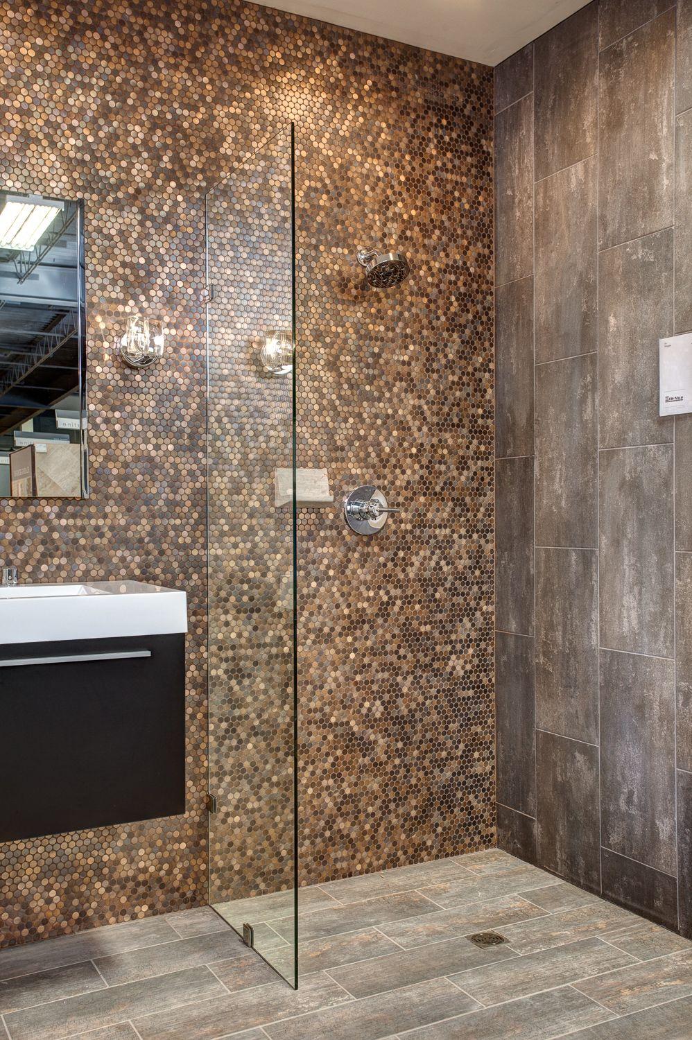 Brushed copper rounds, Virgo Negro and Ledet Wood tile floor ...