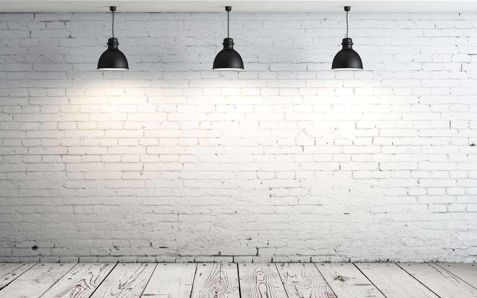 Three Black Pendant Lamps Room Lamp Simple White Wooden Floor Bricks Interior 1080p Wallpaper Hdwallpaper Desktop Latar Belakang Desain Wallpaper Hd