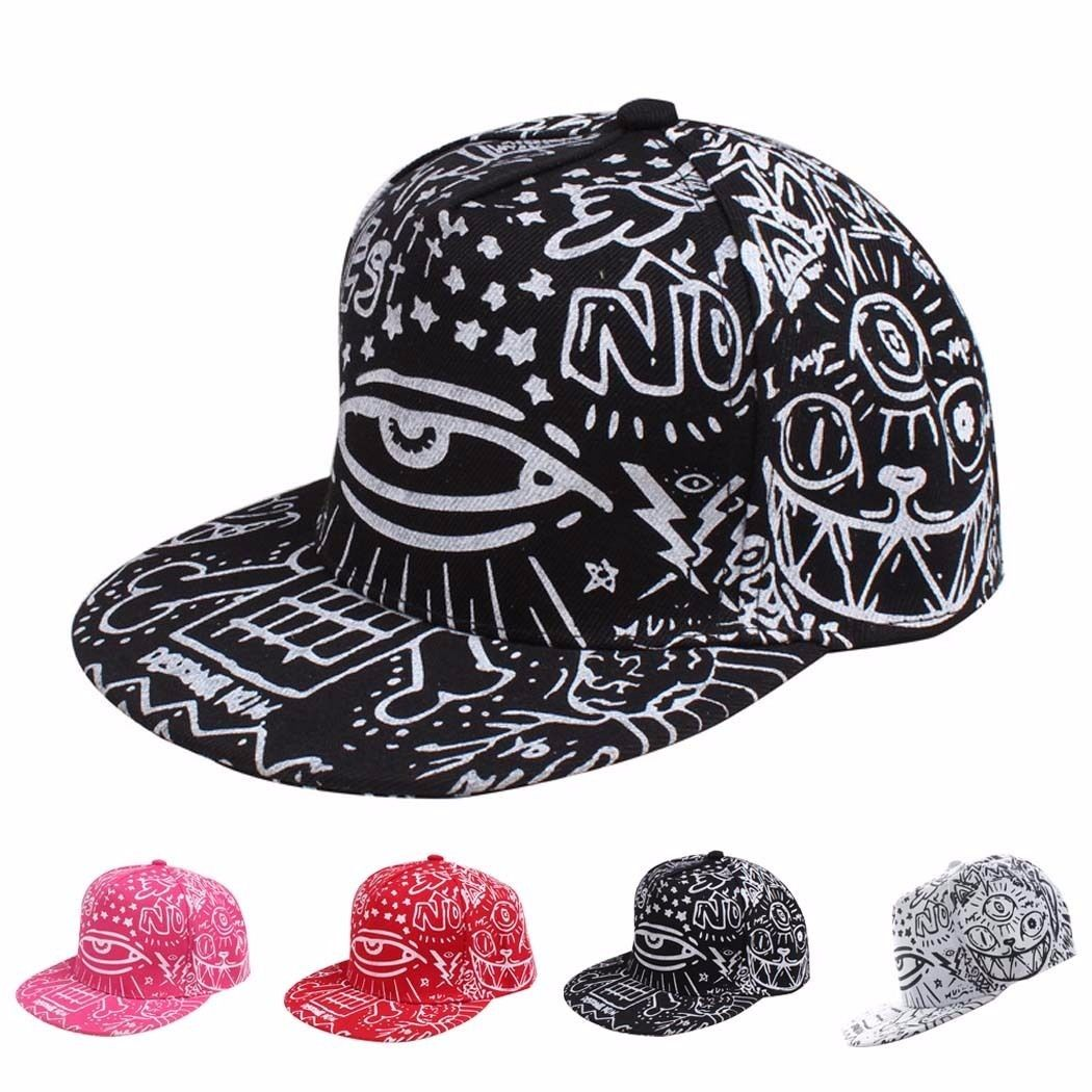 4568894b8b5c2d Mens Women Hip-Hop Baseball Flat Bill Hat Graffiti Hippie Snapback  Adjustable Cap