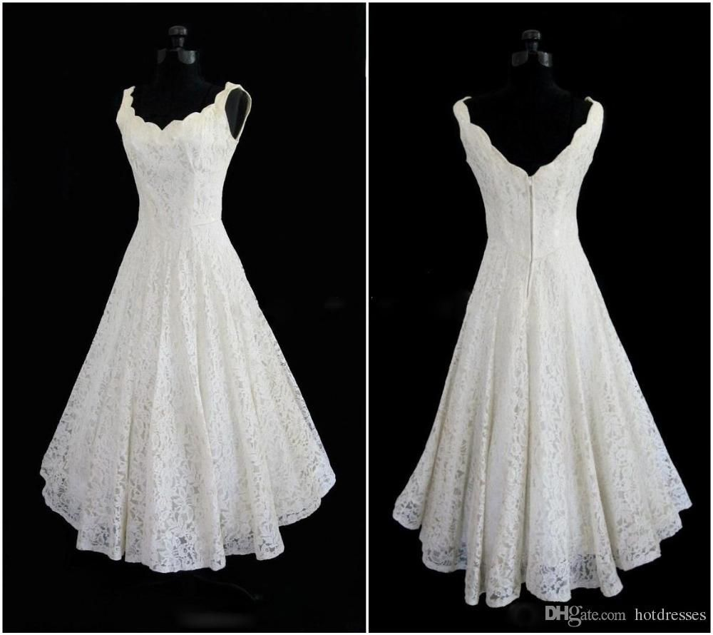 Vintage Wedding Dresses Cheap Plus Size 2015 New Simple Scoop Neck A Line Tea Length Short Wedding Dresses A Line Wedding Dress Sweetheart Elegant Bridal Gown