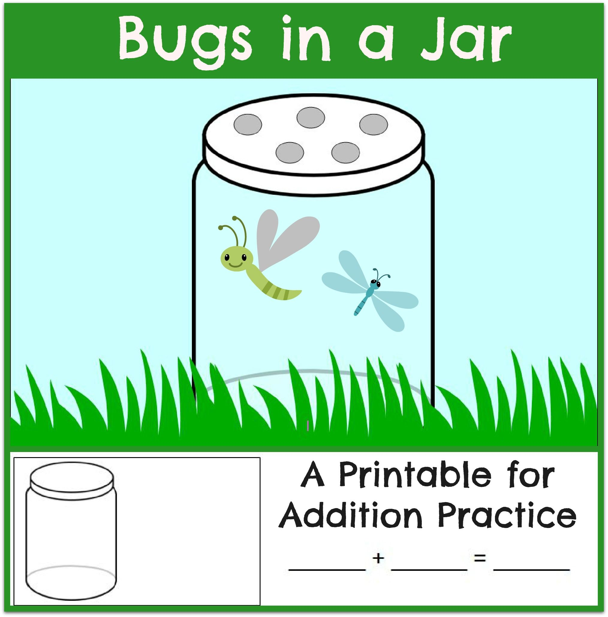 Fun Addition Practice: Bugs in a Jar | Worksheets, Math and Kindergarten