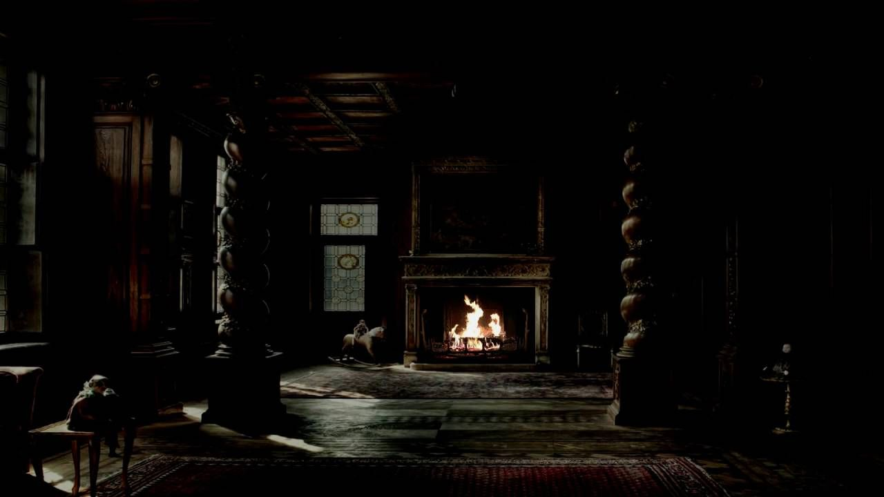 Haunted Halloween Mansion Fireplace with Thunder, Rain and
