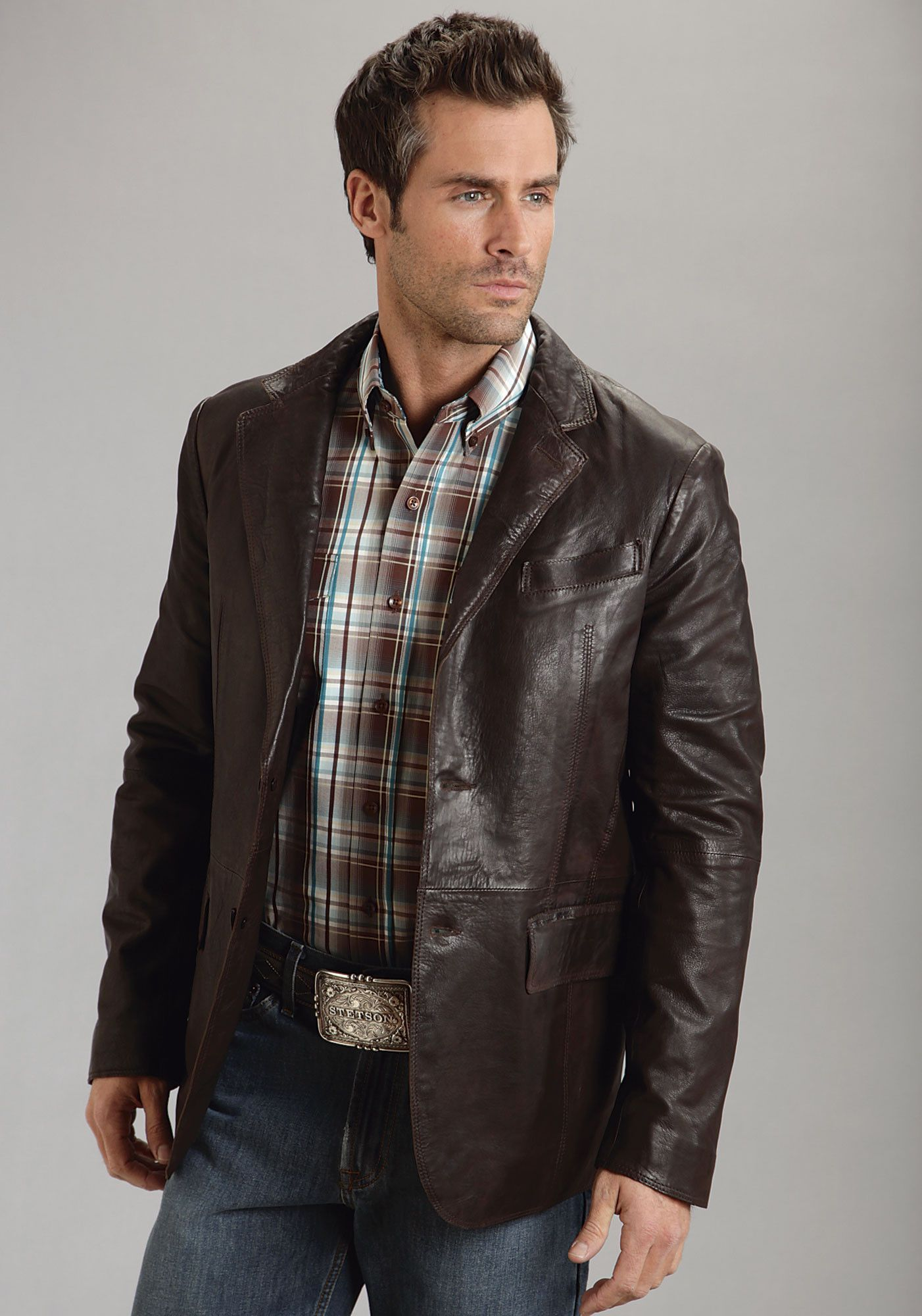 2c58cf684 Stetson Mens Brown Smooth Leather Jacket Blazer Western Button Front ...