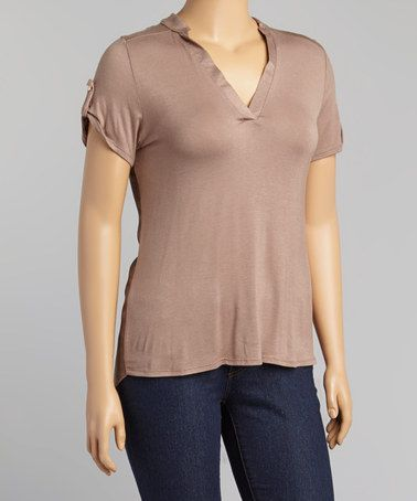 Look at this #zulilyfind! Taupe Roll-Tab V-Neck Top - Plus by Libian #zulilyfinds