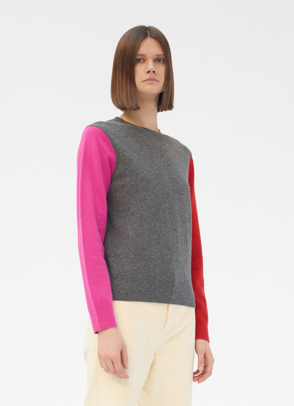 1f2a230df0d Crew neck sweater in colour block wool