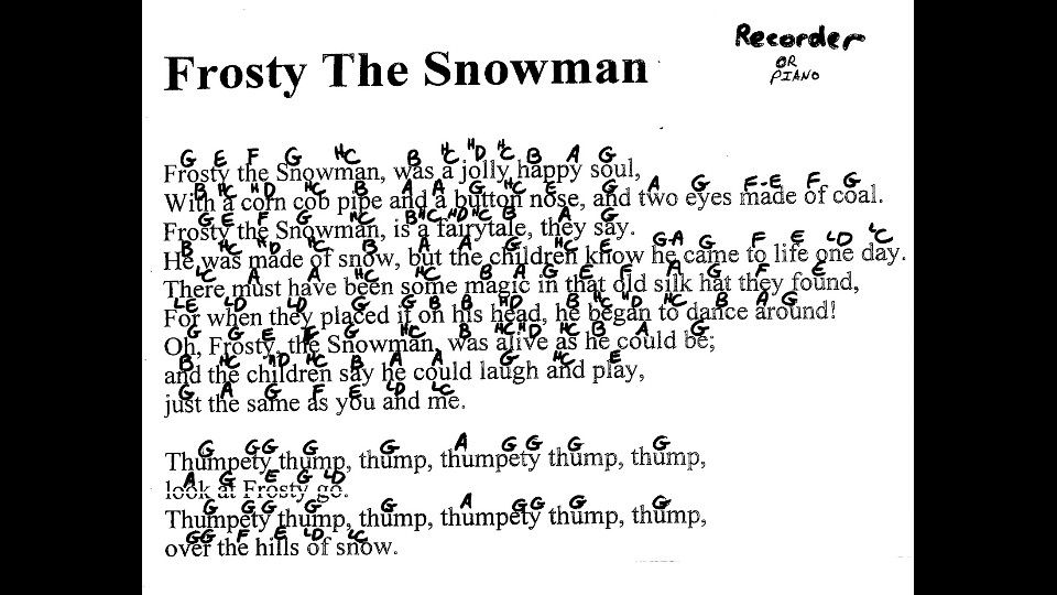 Frosty The Snowman For The Recorder Recorder Music Frosty The