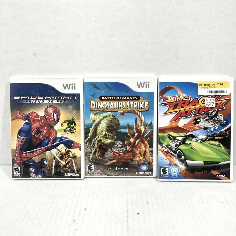 Spider Man Friend Or Foe Dinosaur Strike Hot Wheels Nintendo Wii Lot 3 Games Nintendoswitch Nintendo Switch Wii Spiderman Foe