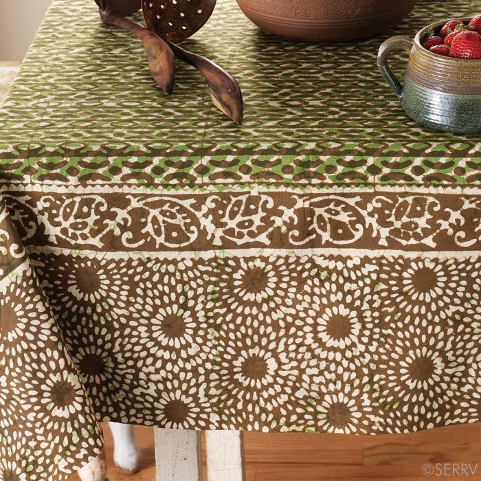 Green And Brown Batik Tablecloth The Cotton Fabric Of This