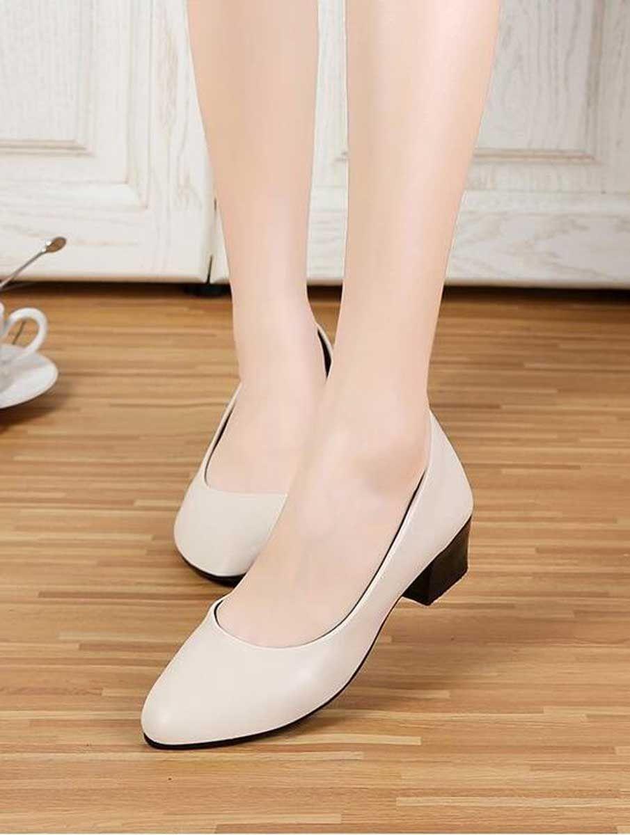 Beige Slip On Low Thick Heel Dress Shoe In Plain Dress Shoes Womens Heels Dress And Heels