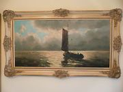 Large Oil Painting. Seascape with Boat. Fabulous frame. 95 cm by 55 cm.