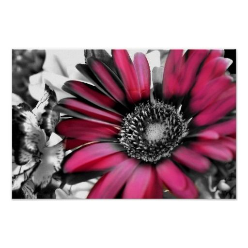 Spring bouquet in black white posters