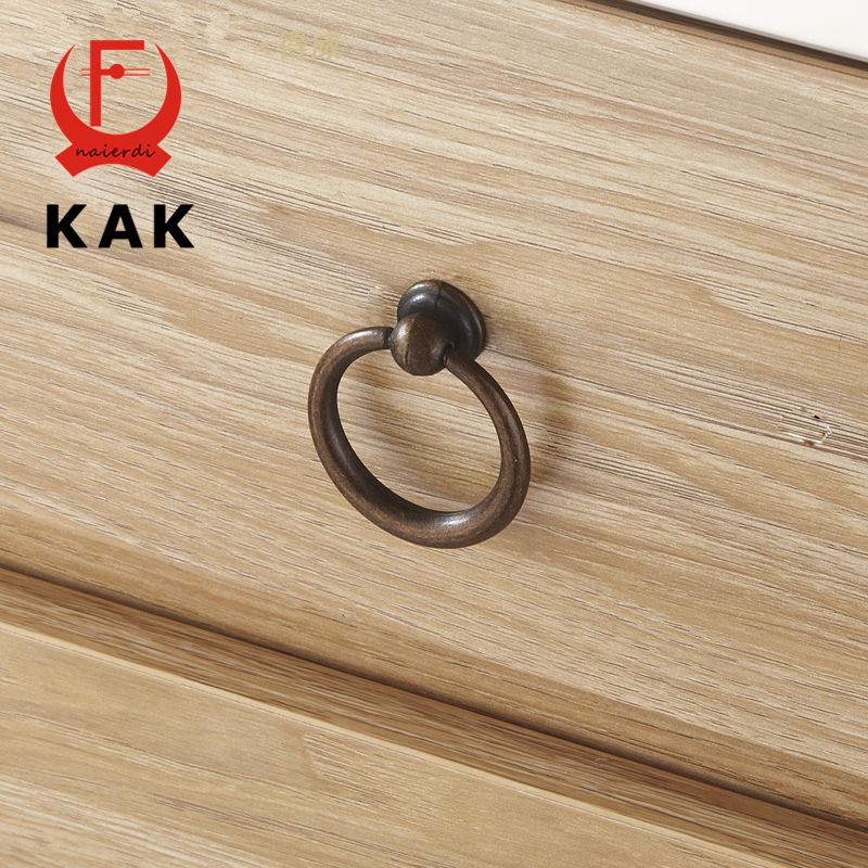 kak 10pcs antique bronze kitchen cabinet knobs zinc alloy circle