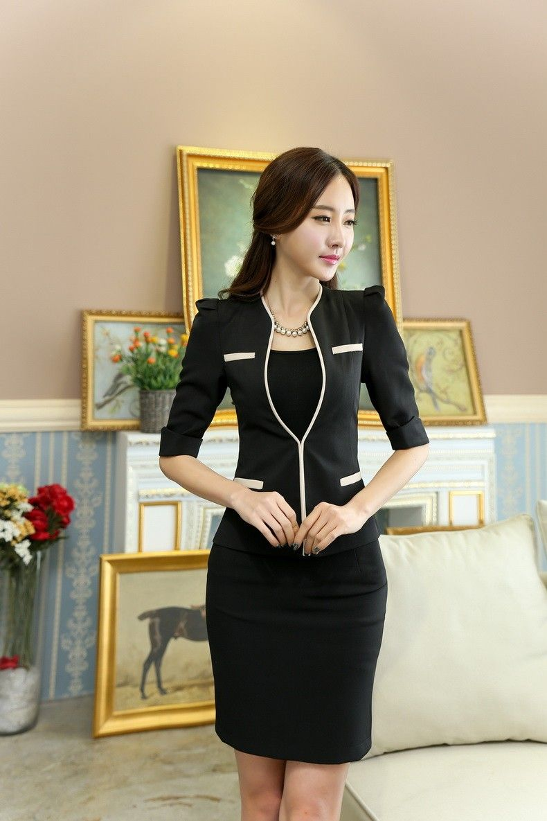 47335965f Primavera uniforme de la oficina diseños mujeres elegantes trajes de falda  con chaqueta y falda conjuntos para mujer formales trajes uniformes salón  de ...