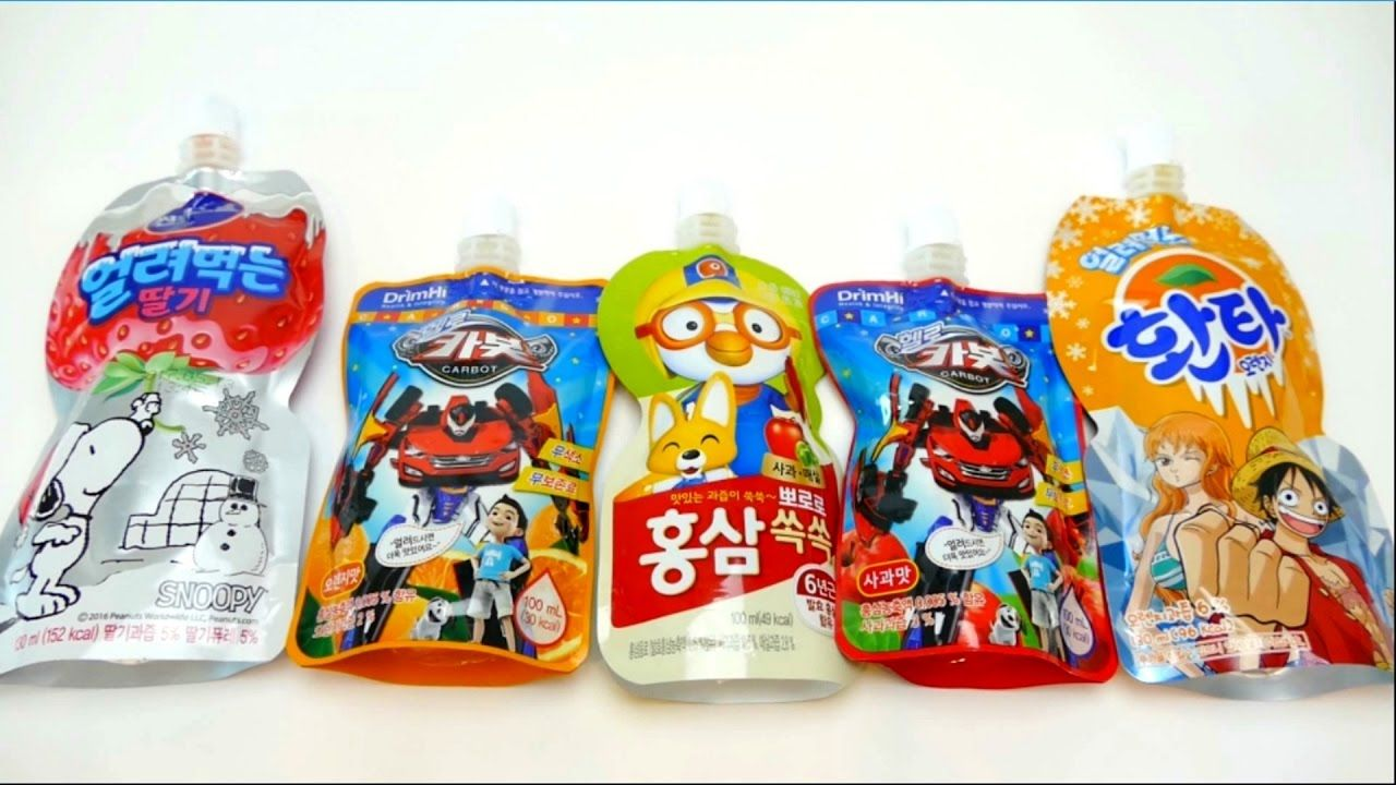 Power Gel Drinks from Korea - Snoopy, Carbot & Pororo the Little Penguin