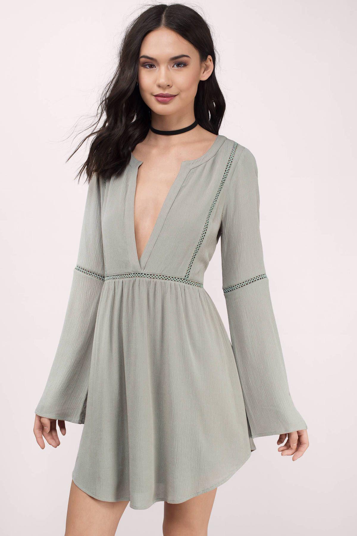 Tobi Trina Plunging Shift Dress Summer Dress Outfits Long Sleeve Plunge Dress Green Long Sleeve Dress [ 1800 x 1200 Pixel ]