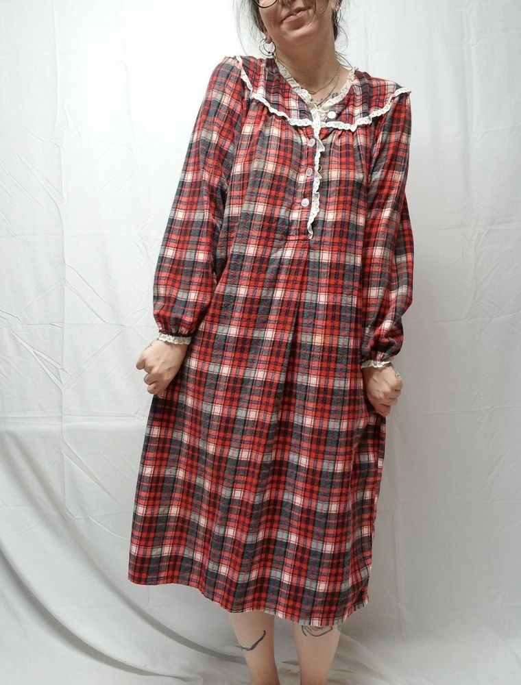 Vtg Red Green Plaid 100 Cotton Flannel Nightgown Granny Gown Womens