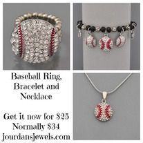 Get this Baseball bundle {necklace, ring, and bracelet} for just $25! Normally 34.  #baseball #necklace #ring #bracelet #jewelry
