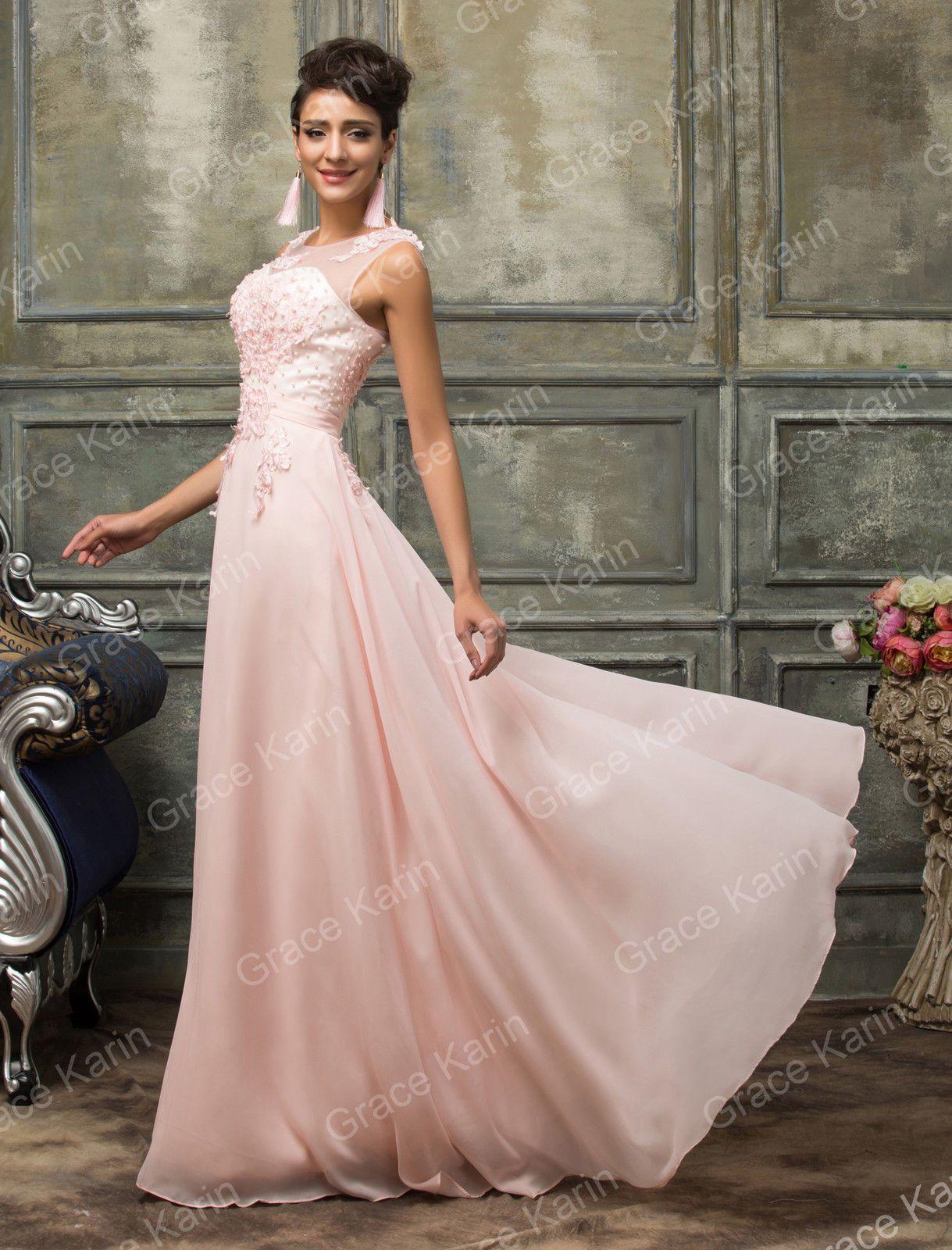 Abito elegante lungo da donna damigella cerimonia vestito festa ...