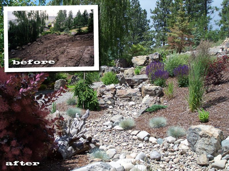 Xeriscape photo dry river bed ideas xeroscaping for Koi pond kelowna
