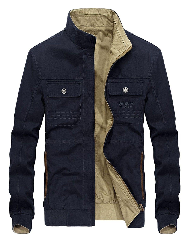 Men's Clothing, Jackets & Coats, Lightweight Jackets, Men's Casual Stand  Collar Full Zip Lightweight Reversible B…   Mens outerwear jacket, Men  casual, Mens outfits