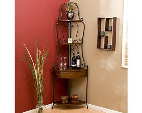 Corner Bakers Rack With Storage Wrought Iron Corner Bakers Rack With Wood Shelves Heritage Oak